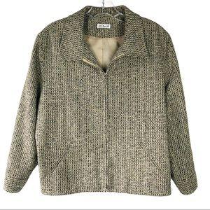 Ann May tan black woven 100% silk zip front jacket